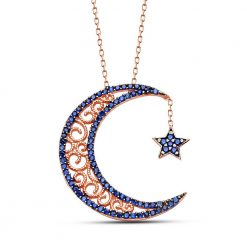 Crescent Star Silver Necklace