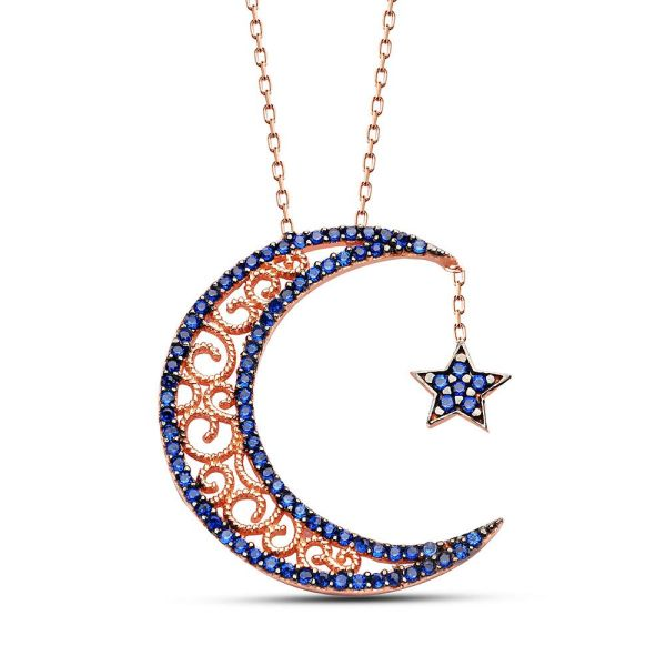 Crescent star silver necklaceislamic jewelry islamic arabic crescent star islamic necklace pendant aloadofball Images