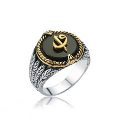 Elif and Waw Silver Onyx Ring