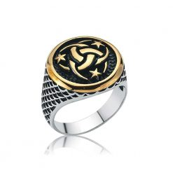 Three Crescent Star Islamic Ring