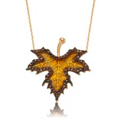 Autumn Sycamore Leaf Silver Necklace-IJ1-1370-Islamic-Jewelry