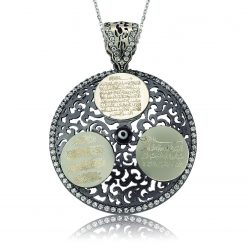 Ayetel K?rsi Nazar Al-Falaq written prayers and Silver Pendant-IJ1-1507-Islamic-Jewelry