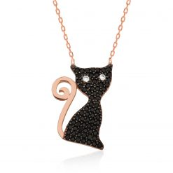 Black Cat Ladies Silver Necklace-IJ1-1793-Islamic-Jewelry