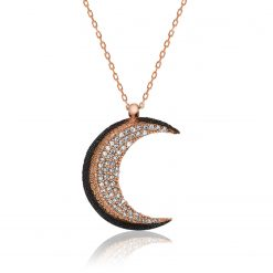 Crescent Silver Ladies Necklace-IJ1-1843-Islamic-Jewelry