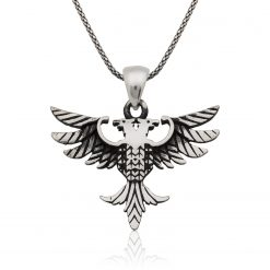 Double-headed eagle Men's Silver Necklace-IJ1-1897-Islamic-Jewelry
