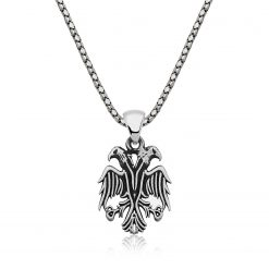 Double-headed eagle Men's Silver Necklace-IJ1-2032-Islamic-Jewelry