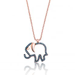 Elephant Sterling Silver Turquoise Necklace-IJ1-1654-Islamic-Jewelry