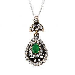 Emerald Authentic Sterling Silver Pendant-IJ1-2099-Islamic-Jewelry