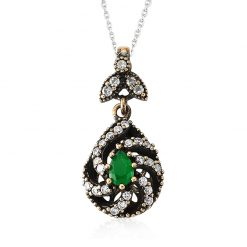 Emerald Authentic Sterling Silver Pendant-IJ1-2104-Islamic-Jewelry