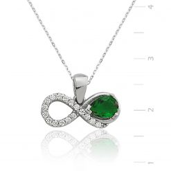 Emerald Necklace Sterling Silver Eternity-IJ1-1287-Islamic-Jewelry