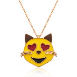 Emoji Eyed Cat Silver Heart Pendant-IJ1-1948-Islamic-Jewelry