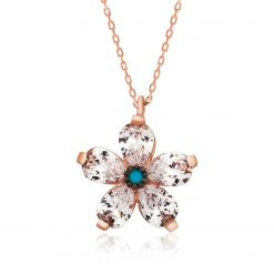 Ms. Silver Flower Necklace-IJ1-1794-Islamic-Jewelry