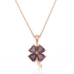 Mystic Topaz Silver Clover Necklace-IJ1-1996-Islamic-Jewelry