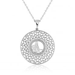 Patterned Silver Virgo Pendant Tu?ra-IJ1-1762-Islamic-Jewelry