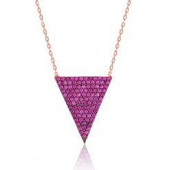 Pink Triangle Sterling Silver Necklace-IJ1-1706-Islamic-Jewelry