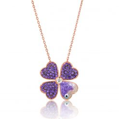 Purple Silver Clover Necklace-IJ1-1661-Islamic-Jewelry