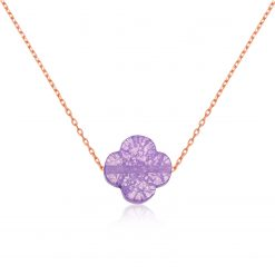 Purple Silver Clover Necklace-IJ1-1926-Islamic-Jewelry