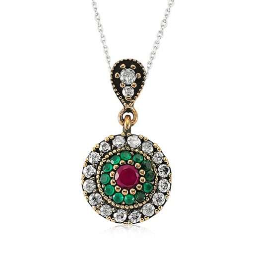 Ruby and Emerald Authentic Sterling Silver Pendant-IJ1-2101-Islamic-Jewelry