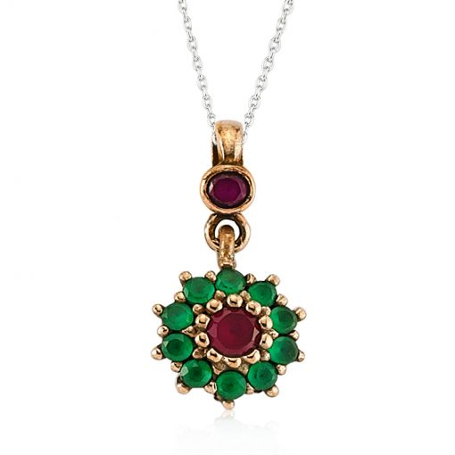 Ruby and Emerald Authentic Sterling Silver Pendant-IJ1-2103-Islamic-Jewelry