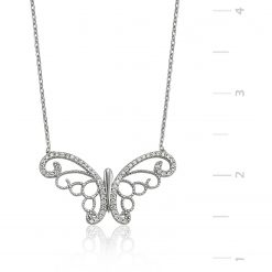 Silver Butterfly Necklace-IJ1-1311-Islamic-Jewelry