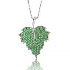 Silver Green Leaf Necklace-IJ1-1663-Islamic-Jewelry