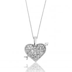 Silver Heart Pendant-IJ1-1547-Islamic-Jewelry