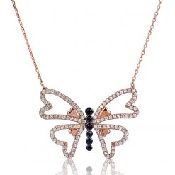 Silver Heart Winged Butterfly Necklace-IJ1-1569-Islamic-Jewelry