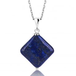 Silver Lapis Natural Stone Necklace-IJ1-1559-Islamic-Jewelry