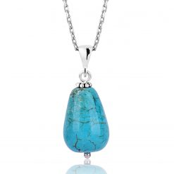 Silver Natural Turquoise Stone Necklace-IJ1-1558-Islamic-Jewelry