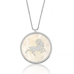 Silver Pearl Necklace Aries Stone-IJ1-1736-Islamic-Jewelry