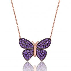 Silver Purple Butterfly Necklace-IJ1-1549-Islamic-Jewelry