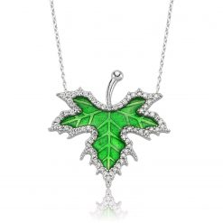 Silver Spring Sycamore Leaf Necklace-IJ1-1369-Islamic-Jewelry