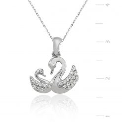 Silver Swan Necklace-IJ1-1285-Islamic-Jewelry