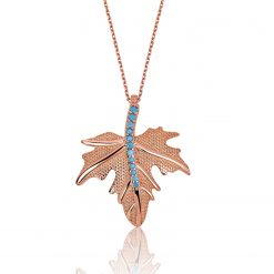 Sycamore Leaf Sterling Silver Turquoise Necklace-IJ1-1624-Islamic-Jewelry
