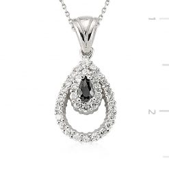 Zircon Silver Necklace-IJ1-2085-Islamic-Jewelry